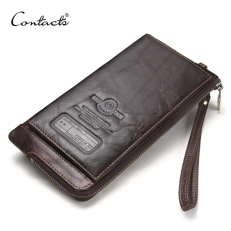 КОНТАКТНИЙ сумка з натуральної шкіри гаманець для мобільних телефонів гаманець зчеплення чоловіків тримач кредитної картки чоловічий довгий гаманець молния монета сумка