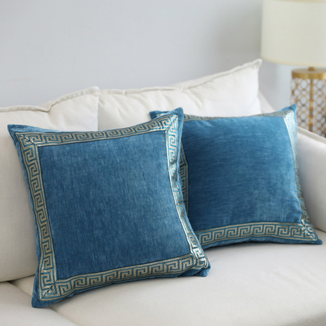 efe06044b730 ESSIE HOME Luxury Classic Teal Blue Peacock Blue Chenille Velvet Cushion  Cover Pillow Case With Embroidery
