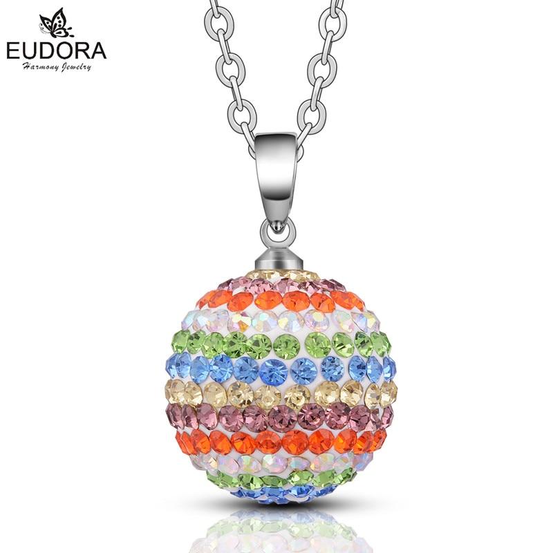 Eudora Harmony Ball Angel Caller Colorful Shiny Crystal Ball Pregnant Chime Ball Pendant Necklace Harmony Bola Jewelry Gift HB20