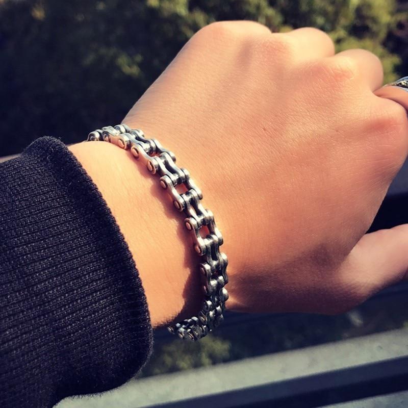ZABRA Байкерский браслет, твердые браслеты из серебра 925 пробы, мужские звенья цепи, полированные, ручная работа, винтажные, Панк ювелирные изделия для женщин - 6