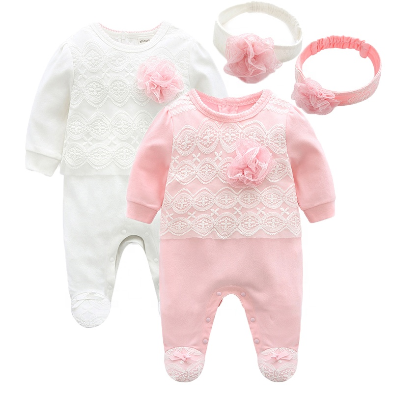 Newborn Baby Girl Clothes Autumn Cotton Lace Baby Romper Jumpsuit Long Sleeve Kids Footed Pajamas Baby Clothing 0 3 6 Month