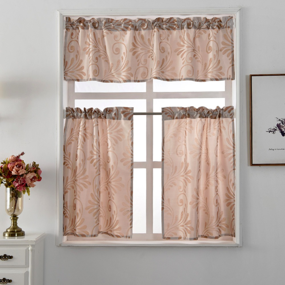 Window curtain Short style kitchen panel jacquard pocket cafe European curtains treatments rod black luxury ready