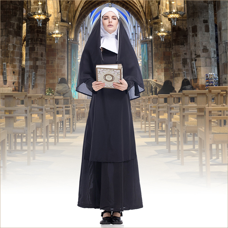 Sexy nun women cosplay costume Adult cosplay dress with black hood of Halloween sister cosplay party costume Virgin Mary cosplay