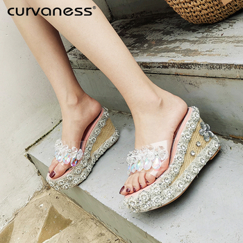 Curvaness Summer Shoes Woman Flower Peep Toe Wedges Thick Bottom Flatform Shoes Sandals Crystal Slippers mujer tacon Sexy