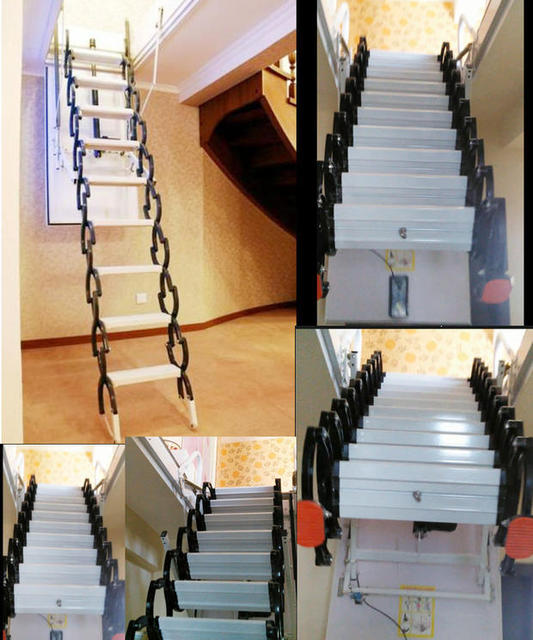 Imported Electric Household Retractable Attic Stair Staircase Steel Villa  Automatic Folding Ladder Thickened Specials