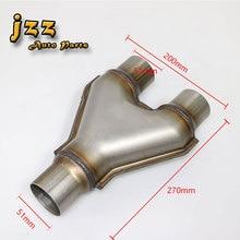 JZZ 63 мм/57 мм/51 мм впускной Универсальный Глушитель Из Нержавеющей Стали Громко изменение выхлопной y-труба автомобиль