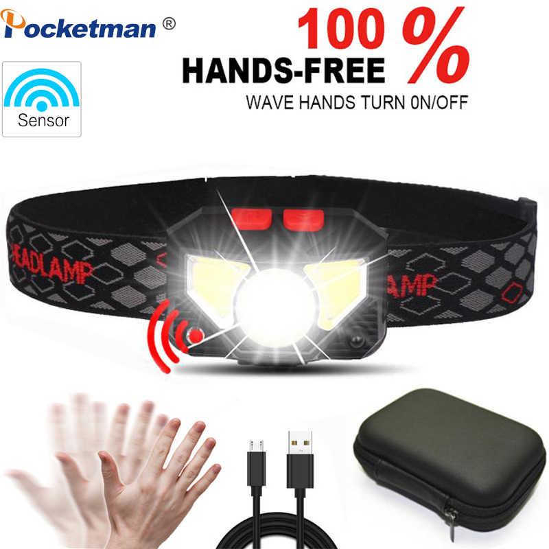 6000lums linterna LED de cabeza con Sensor de movimiento y manos libres linterna LED con batería integrada inductiva con caja portátil
