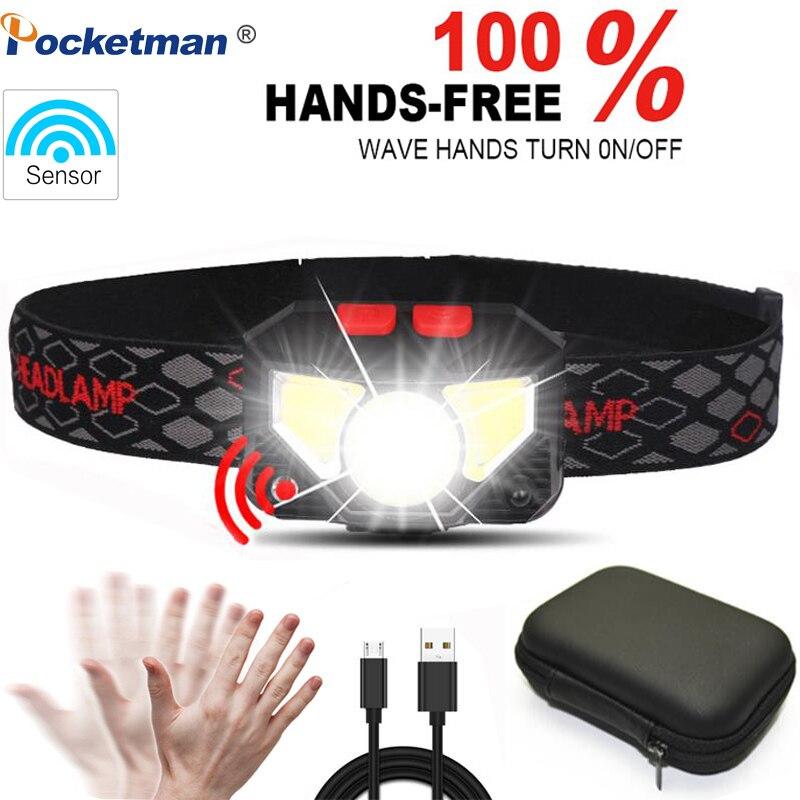 8000 lums LED mains libres lampe frontale capteur de mouvement lampe frontale phare LED torche batterie intégrée inductive avec boîte Portable