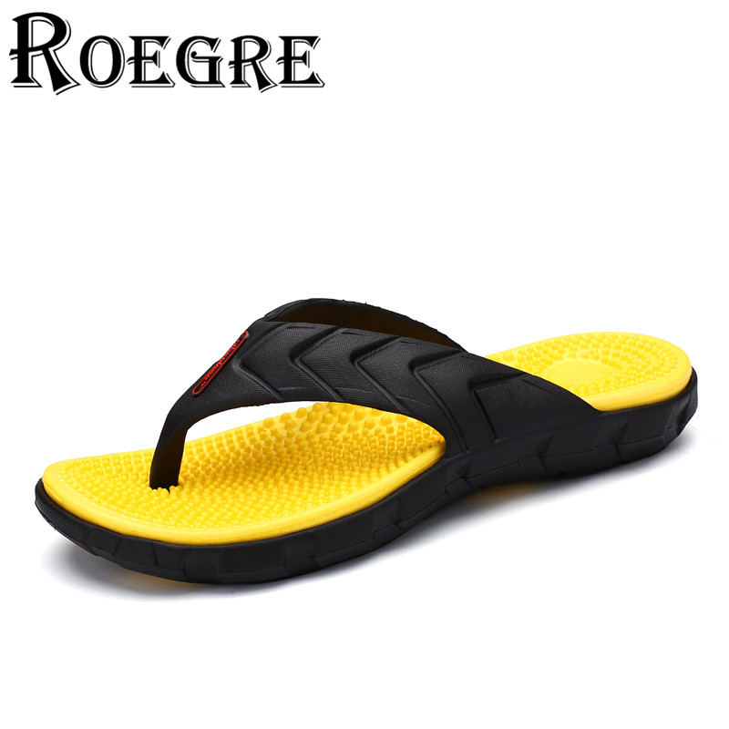 ROEGRE New 2017 Summer Men Flip Flops Casual Slippers Outdoor Beach Sandals for Men Blue White Yellow Plus Size 40-45 men s summer fashion antiskid beach flip flops casual slippers white black size 8 pair