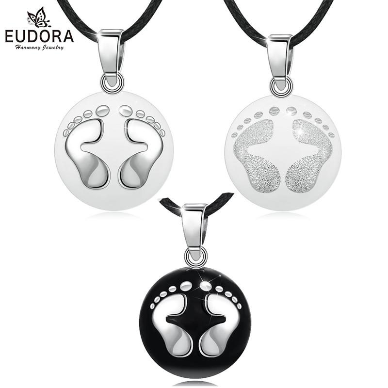 Eudora Pregnancy bola harmony Pendant Silver & Black feet harmony ball Necklace for pregnant woman pregnancy new mom gift B224 image