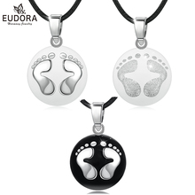 Eudora Pregnancy bola harmony Pendant Silver & Black feet ball Necklace for pregnant woman pregnancy new mom gift B224