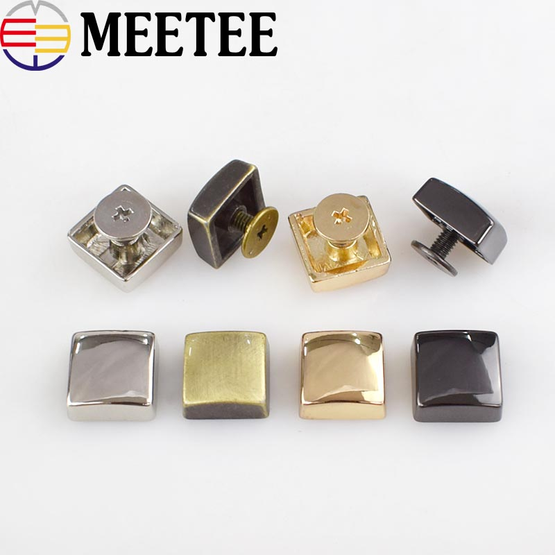 12x12mm Square Rivet Screw For Bags Hardware Handbag Decorative Studs Button Nail Rivet Metal Buckles Snap Hook Leather Craft