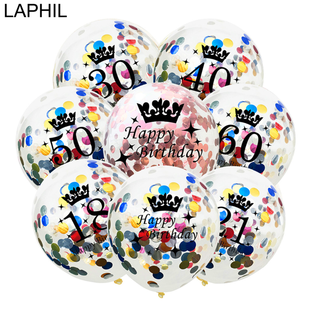 LAPHIL 12inch Black Gold Latex Balloon 16 18 21 30 40 50 <font><b>60</b></font> Years <font><b>Happy</b></font> <font><b>Birthday</b></font> Party Decorations Adult 30 40 Photobooth Props image