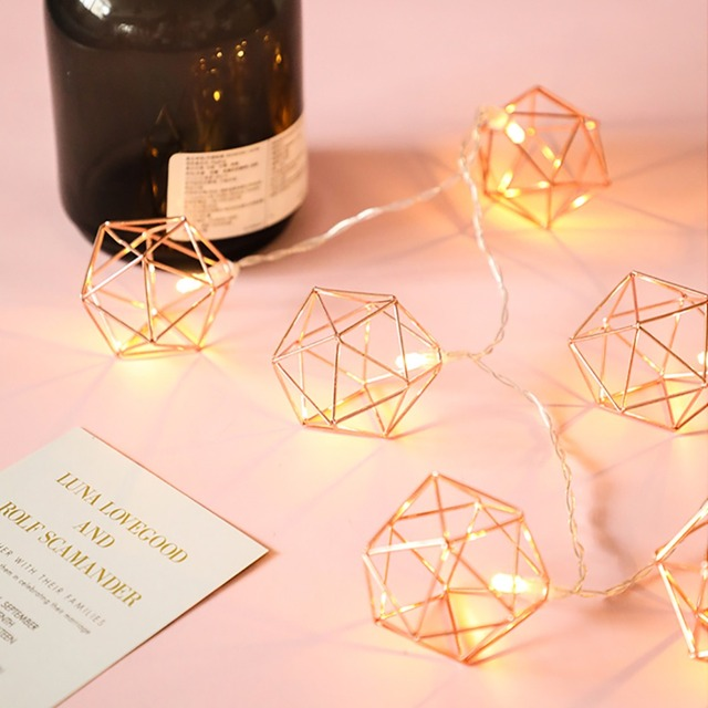 1 5m 20leds Retro Solid Geometry Rose Gold Led String Lights Bedroom Decoration Fairy For Christmas Wedding Party