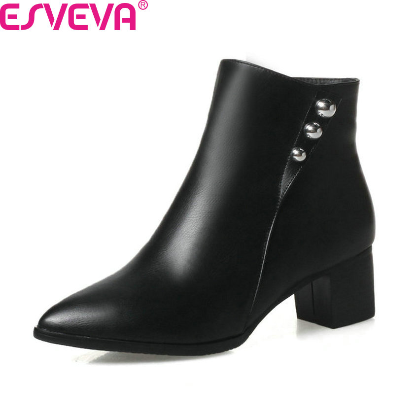ESVEVA 2018 Women Boots 3 Color Western Style Ankle Boots PU Solid Square Med Heels Zipper Pointed Toe Ladies Boots Size 34-43 esveva 2018 women boots zippers black short plush pu lining pointed toe square high heels ankle boots ladies shoes size 34 39 page 3