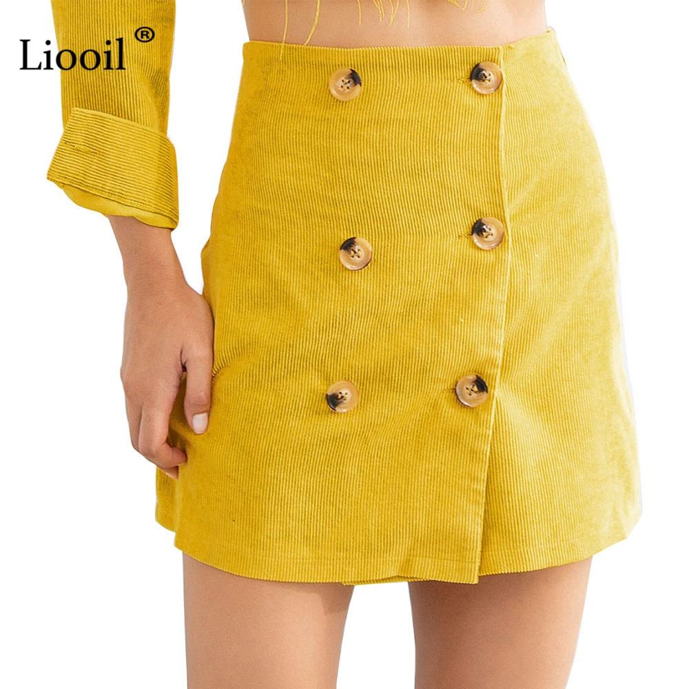 Liooil Winter Corduroy Mini Skirt Women Clothes Autumn 2018