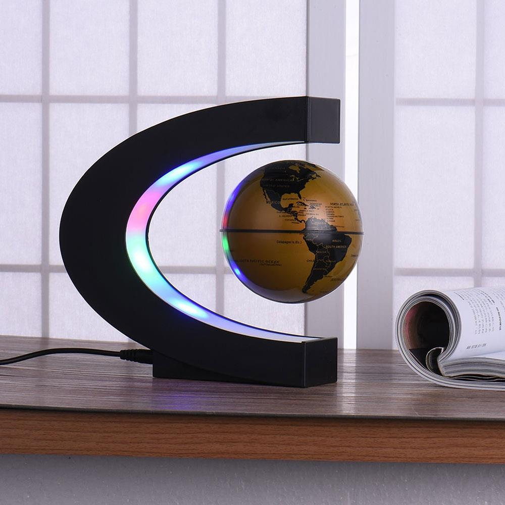 C Shape Black Blue Gold LED World Map Globe Lamp Light Electronic Magnetic Levitation Glowing Lights Home Decor Wedding Gift