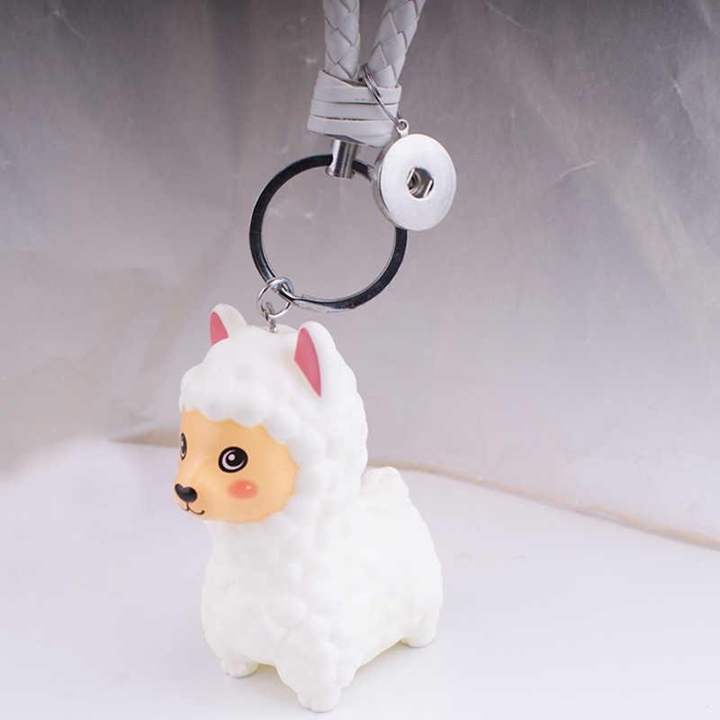Branco ROSA lhama 18mm PK575 botão snap jóias chaveiro Chaveiro DIY Frete grátis