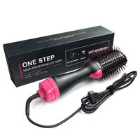 Electric Multifunctional Infrared Negative Ion Hot Air Roll Straight Dual Purpose Hair Dryer Shape Comb Curling Hairdryer US EU
