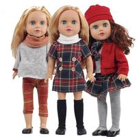 Dongzhur 45cm Silicone Winking Girl Doll Tangkou Dress Blinking Doll 18 Inch American Girl Doll Model Girl Gift Toy Reborn Baby