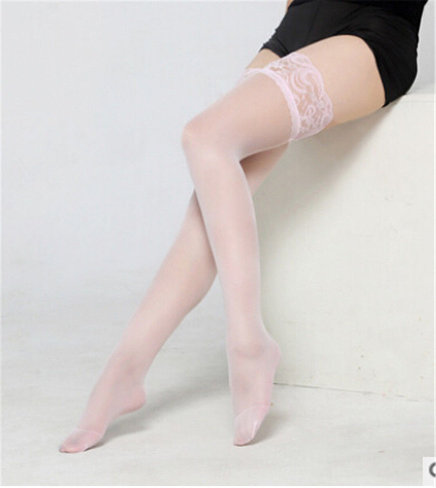 bc51b3a5526 Sexy Lace Women Plus Size STAY UP STOCKINGS Sheer Thigh High LACE TOP  Silicone 165 275 lbs QUEEN-in Stockings from Underwear   Sleepwears on  Aliexpress.com ...