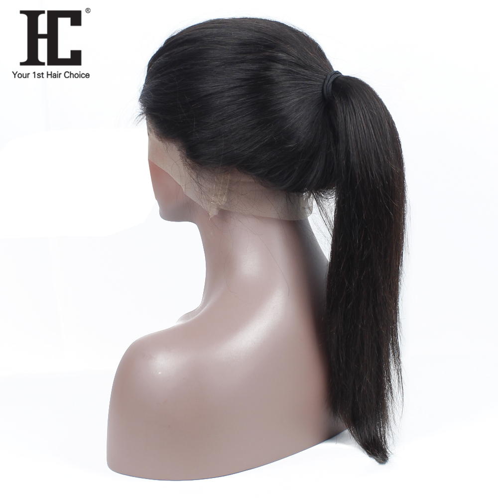 HC 360 Lace Front Human Hair Wigs Straight Pre Plucked Natural Hairline 150% Brazilian Remy Human Hair Lace Wigs With Baby Hair