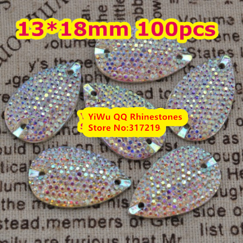 US $7 66 5% OFF Free Shipping, 100pcs/Lot, 13*18mm All star Crystal AB sew  on teardrop stones flat back resin sew on Beads / Stones Decoration-in