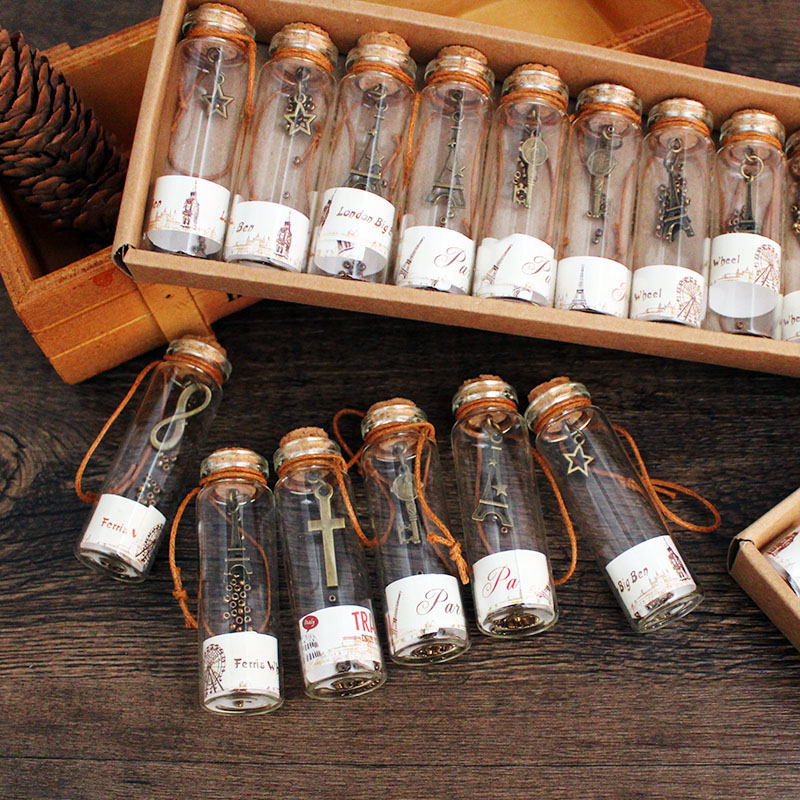 12pcs/pack Mini Wishing Bottles Glass Cork Stopper Containers Small Vintage DIY Craft Toys For Kids Decor Creative Girls Gift