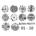 BORN PRETTY 01-10 Nail Art Stamp Template Xmas Flower Image Nail Stamping Plates 10pcs/set Stamp Plates