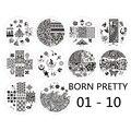 Born pretty 01-10 Ногтей Штамп Шаблон Рождество Цветок Тема Ногтей штампа шаблон плиты 10 шт./компл.