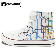 Custom Converse New York City Subway Route Map Hand Painted Shoes High Top Canvas Sneakers Men