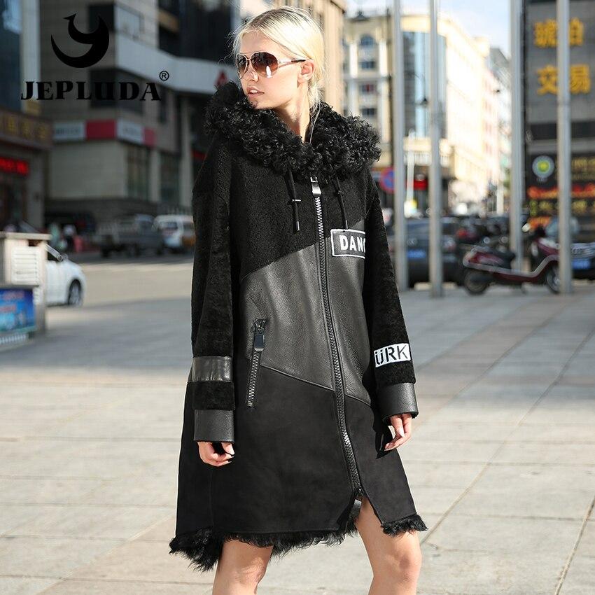Abrigo de piel Real de invierno JEPLUDA nueva cremallera grande con capucha abrigo de piel de cordero Natural Real para mujer abrigo de piel de oveja Real