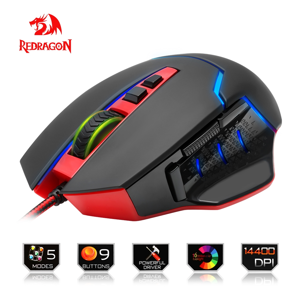 Redragon USB Gaming Mouse 14400 DPI 9 buttons ergonomic design for desktop computer accessories programmable Mice gamer lol PC