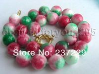 Wholesale price FREE SHIPPING ADGenuine Natural 14mm Round Multicolor Jade Necklace