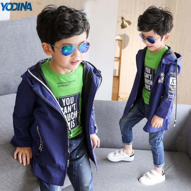 Yodina детская одежда Обувь для мальчиков пальто с длинными рукавами От 5 до 14 лет Демисезонный Обувь для мальчиков ветровка с капюшоном Детска...