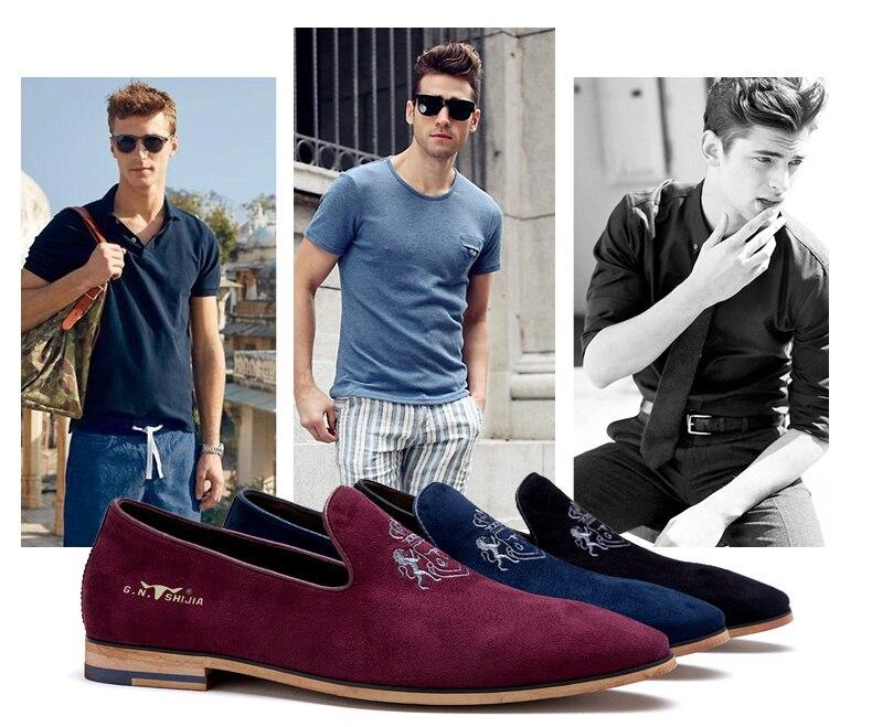 Luxury men velvet loafers shoes mens red leather dress man black blue slip flat shoe wedding - Redleaf hair products Co., Ltd store