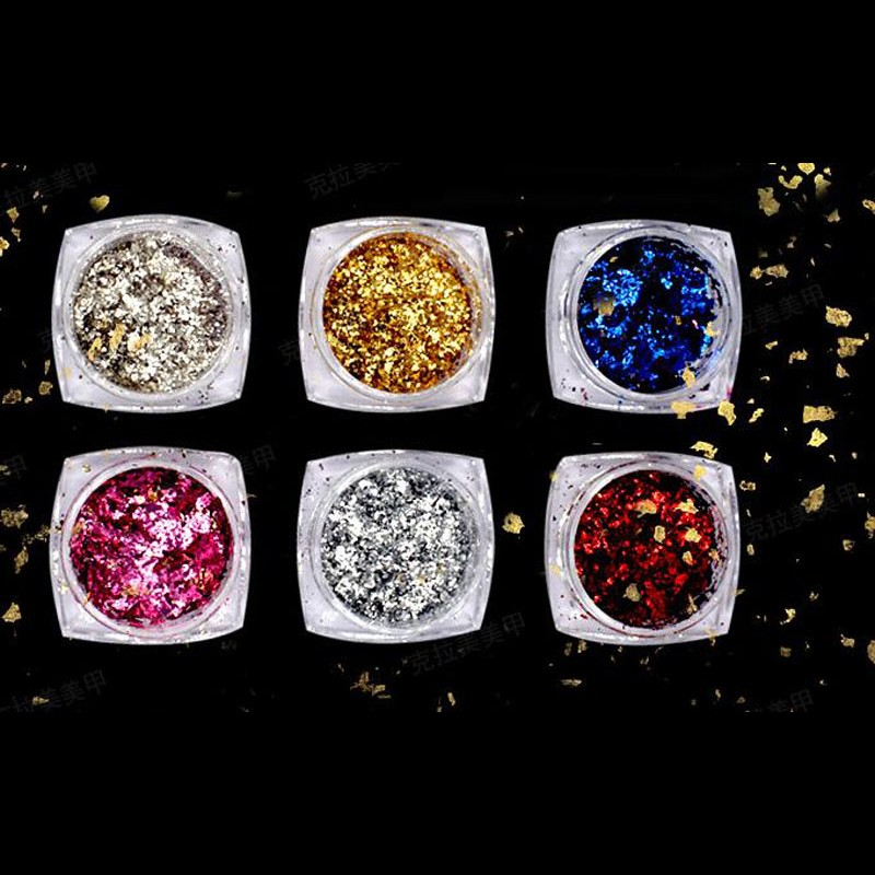 1 Set Nail Art Glitter Aluminum Flakes 6 Colors 0 2g Mirror Effect Nail Powder Irregular Flakes Nail Gel Polish Chrome Pigment 6 in Nail Glitter from Beauty Health