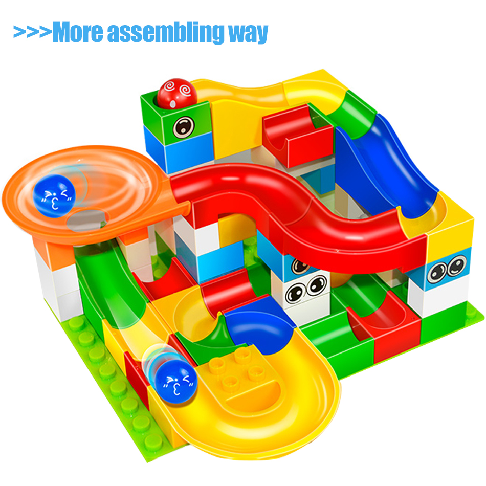 GOROCK Toys Funny DIY Race Run Track Colorful Construction Balls Rolling Track Big Size Building Blocks Compatible Legoe Duplo 240pcs racing track diy assembly set toy rollercoaster vehicle car toys miraculous race track bend flash track xmas kids gifts