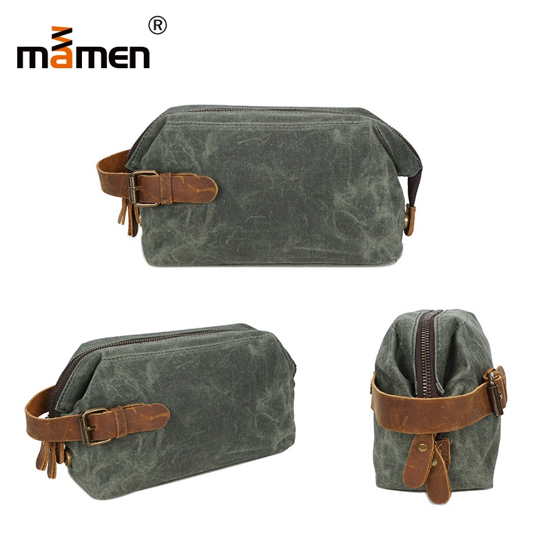 Mamen Outdoor Shopping Bag Women Men Business HandBag Hiking Camera Retro Bag Zip Universal Oil Wax Belt Canvas Handbag