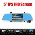 Nueva Novatek 96655 Coches Dvr Cámara 5 Pulgadas Espejo de Vídeo Digital grabadora de Doble Lente Dvr Registrador de la Videocámara Full HD 1080 P dash cam