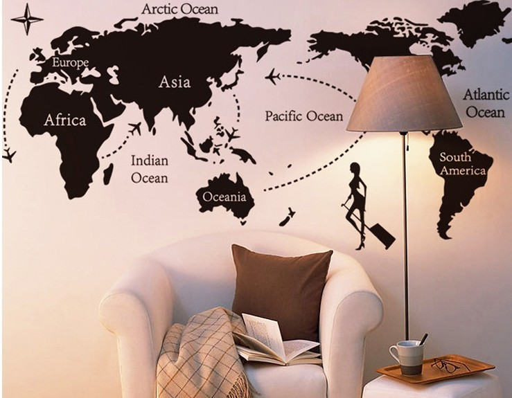 Large size 2pcsset world map with black letters marking all creative office wall stickers country name world map wall stickers fashion office world trip wall stickers gumiabroncs Image collections