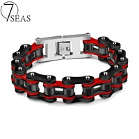 7SEAS 2017 New Top Quality Cycling Chain Bracelet Stainless Steel 4 Colors Punk Bracelet 22cm Man