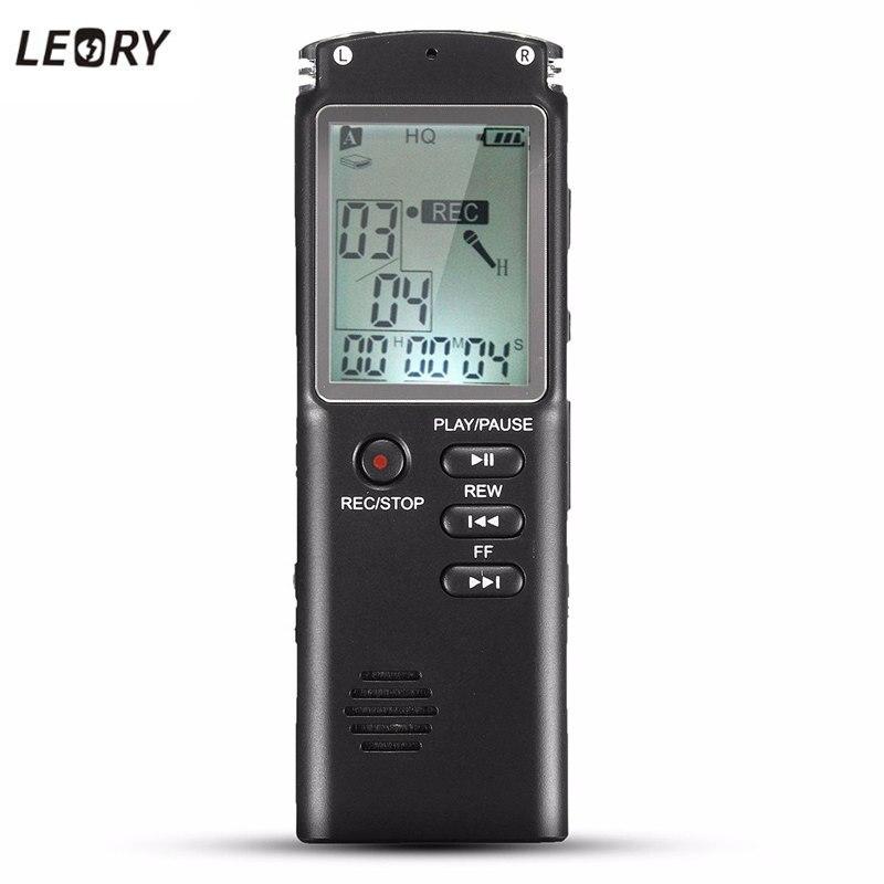 Leory Портативный 8 ГБ ЖК-дисплей Цифровой Аудио Голос Регистраторы диктофон Перезаряжаемые MP3-плееры с наушники Встроенный микрофон