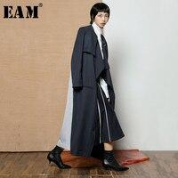 [EAM] 2018 Новый осень зима нагрудные с длинным рукавом в полоску темно синий хит Цвет Длинная ветровка Для женщин куртки мода прилива JH925