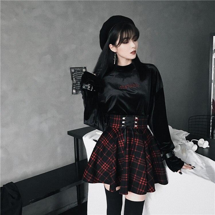 2019 zima Gothic Punk kobiety czarne koszulki koszula jesienna Sexy aksamitna haft Bodycon jednolity kolor, długi rękaw pulower na przyjęcie koszule w Koszulki od Odzież damska na AliExpress - 11.11_Double 11Singles' Day 1