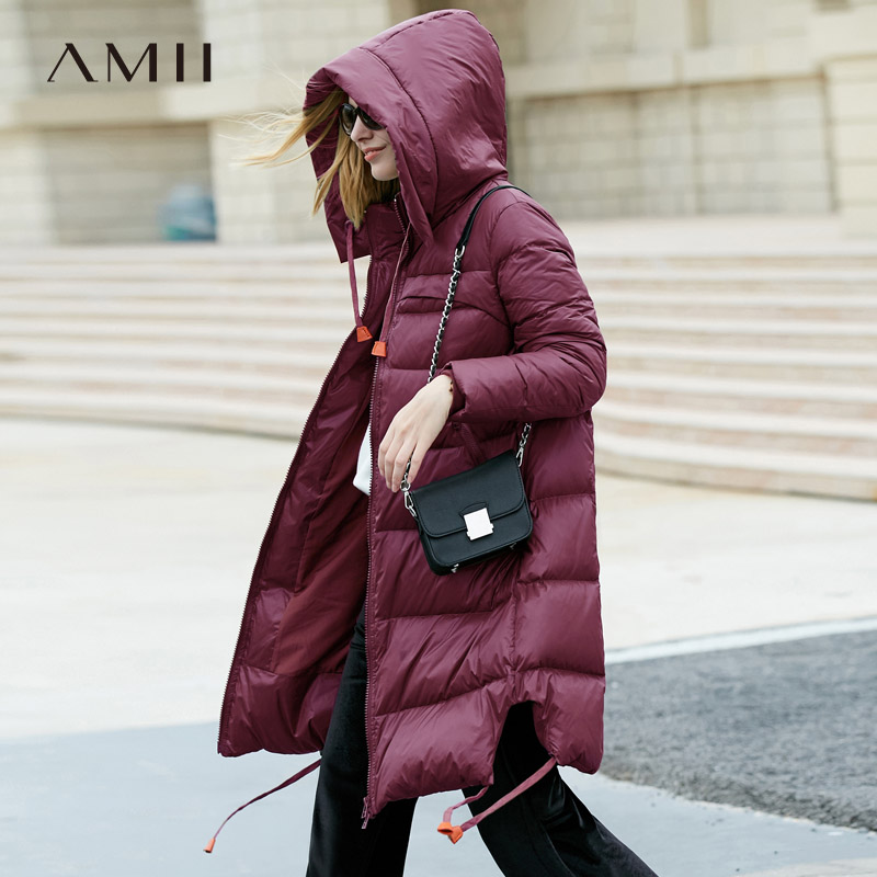 Amii Minimalist 2018 Women 90% White Duck   Down     Coats   Loose Knee Length Padded Jacket with Hooded