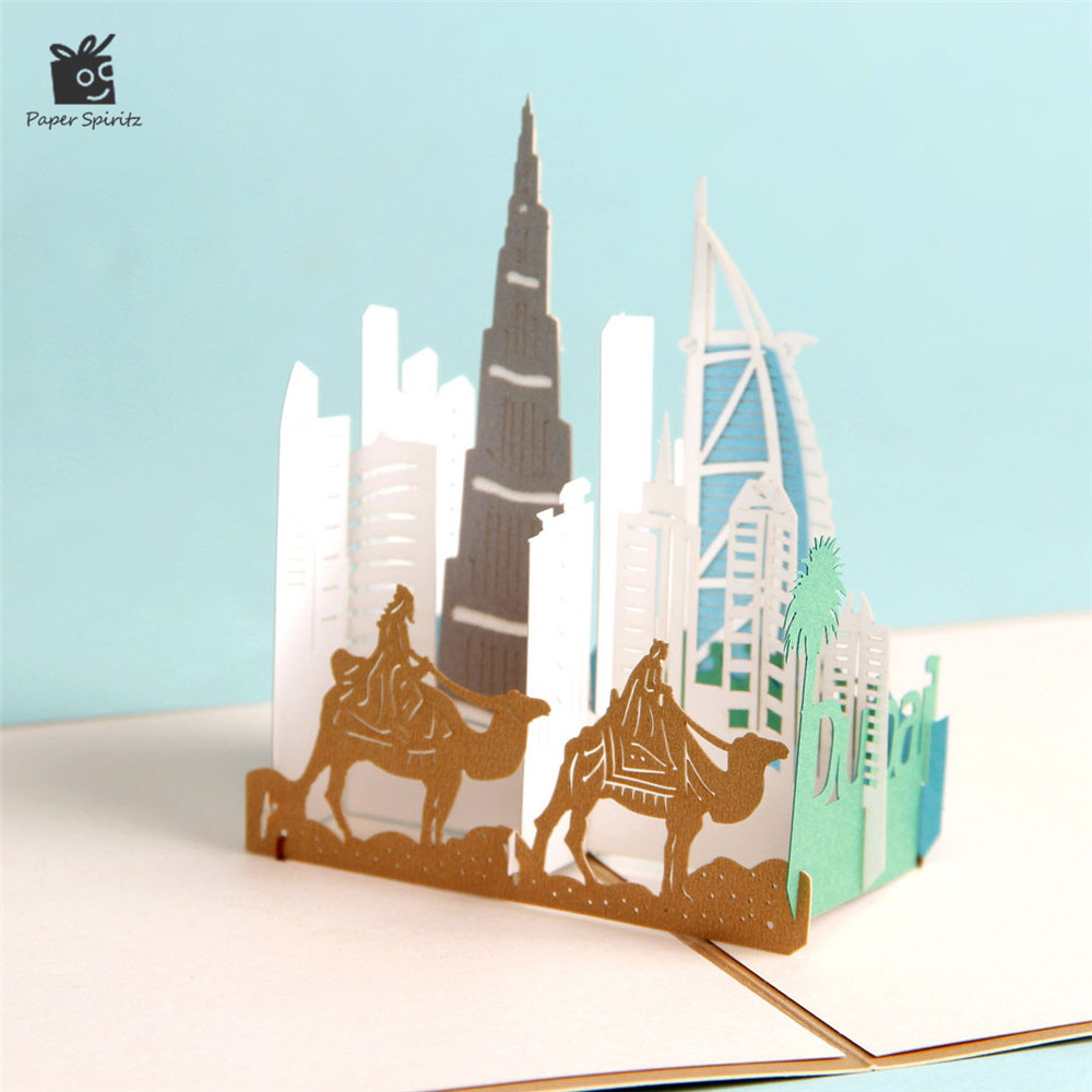 3D Pop up Card Greeting Cards Postcards Wedding Invitation Party Birthday Paper Laser Cutting City View Handmade Dubai G3067G