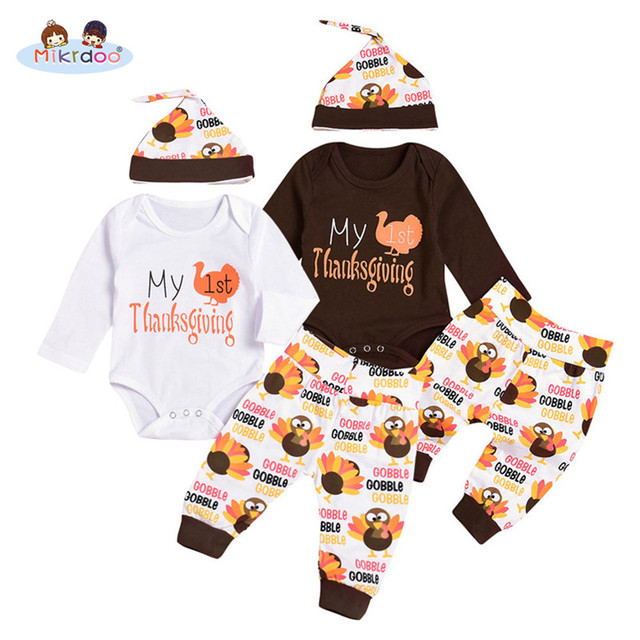 56874a711 Mikrdoo Thanksgiving Baby Boys Girls Clothes My 1st Thanksgiving Outfit  Long Sleeve Romper Turkey Print Pant