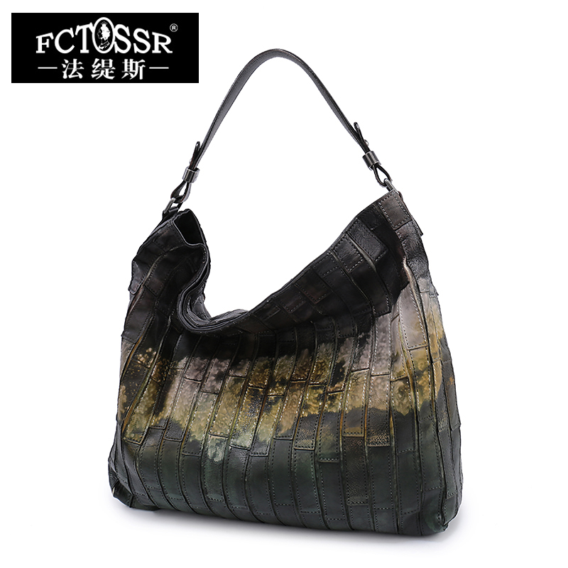 Lady Retro Shoulder Bag First Layer of Leather Large Capacity Tote Handmade Women Leisure Bags Cow Skin Leather Hobo Handbag first layer cow skin 100