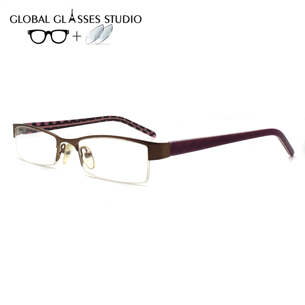 Women Metal  Glasses Frame Eyewear Eyeglasses Reading Myopia Prescription Lens 1.56 Index A409(China)